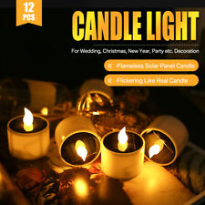12x LED Candle Light Waterproof Flicker Flameless Solar Candles Battery Operated