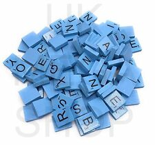 Wooden Scrabble Coloured Tiles Full Size Set Letters for Art & Crafts Scrapbook Light Blue 300