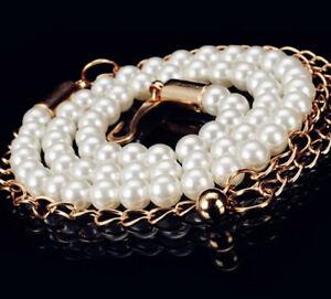 Womens Ladies Fashion Gold Pearl Metal Elastic Thin Skinny Belt Chain Waist Band