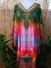 Loose Fitting Sheer Embellished Kaftan Round Hem Print Size 12-14-16-18 one size