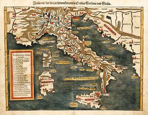 1544 Pictorial Map Italy Corsica Sardinia Sebastian Munster 11x14 Wall Art Print