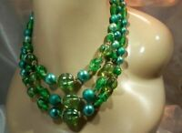 Showy Vintage 50's Japan Foil Art Glass Lucite 3 Strand Necklace 168N0