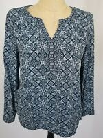 J.Jill Black Blue Purple Floral Long Sleeve Popover Top Medium V-Neck Shirt