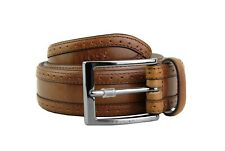 HUGO BOSS BLACK LABEL CLUDOVICO BROWN LEATHER TAILORED BELT SIZE 34 NEW ITALY
