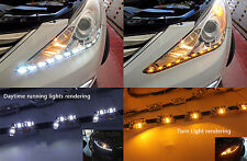 2x Side Glow Switchback LED Strip Headlight DRL Light White Amber For Audi Style