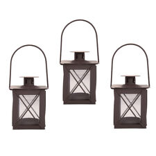 Set Of Three Small Traditional Metal Tealight Candle Lanterns Home or Garden