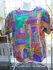 Nicola-short sleeve raglan shell top-size L-polyester-multi-colored