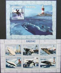 Mozambique -Whales-2007-1 M/Sh.+1 S/Sh.MNH**, MZ077