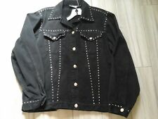 Gepetto Women Solid Black Long Sleeve Embellishe Cotton Denim Jean Jacket Size L