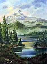 Colorado Mountains Landscape print of original  on linen card stock