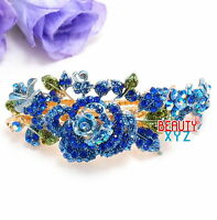 New Rhinestones Crystal Gold Tone Metal Rose flower hair claws clips Barrette