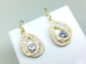 Superb Stunning Pair Of 9ct Gold On Silver Lever Back Earrings With Gem Stones