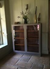 Antique Painted Grey(French Linen)Display China Bookcase Glazed Cabinet Cupboard