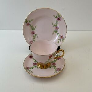 Vintage Royal Tuscan English Bone China Hand Painted  Teacup,Saucer,Plate Trio
