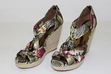 Carlos Santana Womens 10 M Green Red White Gold Open Toe High Heels Wedges Shoes