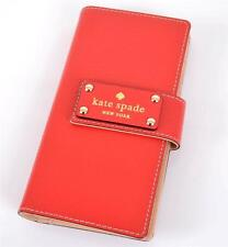 NEW KATE SPADE STACY WELLESLEY GERANIUM RED LEATHER SMALL WALLET