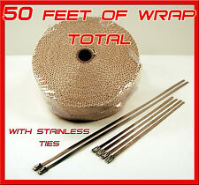 "Exhaust Heat Header Wrap with Stainless Ties 1/16"" X 2"" X 50 Tan High Temp pipe"