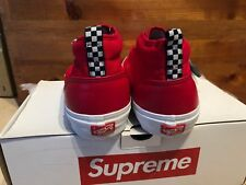 2011 Supreme NYC x Vans - Chukka Pebbled Leather Red White size 10.5