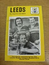 1980/1981 Rugby League: Leeds ufficiale Club sostenitori manuale (lievi marcatura T