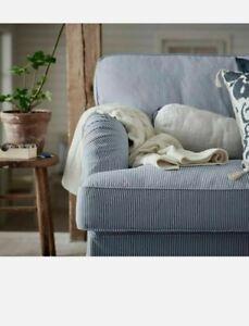 Ikea STOCKSUND Sofa Cover Slipcover REMVALLEN BLUE WHITE Ticking Stripe 3-Seat