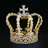Vintage Pageant Wedding Bridal Crystal Queen King Cross Headband Crown Tiara