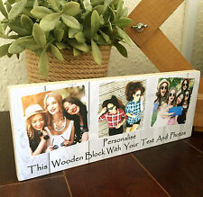 """10x4"""" Personalised Wooden Family Photo & Text Block Best Friend Baby Gift"""