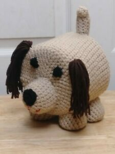 Dog Toilet Paper Cover Bathroom Accessory Handmade Crochet Tan and Brown