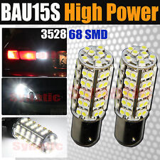 2x BAU15S 7507 PY21W 68SMD White Brake/Backup/Tail/Turn Signal LED Light Bulbs