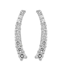 0.25 CT 14K White Gold Round Cut White Diamond Climber Earrings