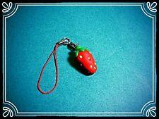 **~ Strawberry Dangler ~ cute fimo phone charm ~**