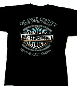 Harley Davidson Medium Orange County Irvine California Made in USA Shirt