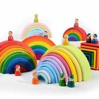 Toddler Rainbow Wooden Toys Colorful Rainbow Blocks Rainbow Toy For Infant 12pcs