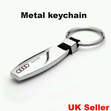 NEW AUDI LOGO METAL CHROME KEYCHAIN KEY-CHAIN Key Ring A1-A8 Q5 Q7 UK Seller