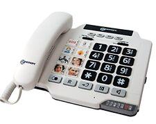 Geemarc Photo100 WH If Téléphone filaire Blanc avec Mémoires photos (version