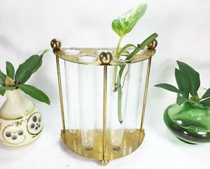 Vintage Brass Propagation Station With Glass Tubes Plant Stand Indoor Garden 80s