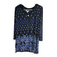 Charter Club 3/4 Sleeve Tunic Top Womens Size XL Black and Blue