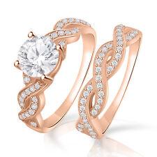 1.50 cttw VVS1/D Diamond Engagement Bridal Band Ring Set 14k Rose Gold Over