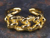Silberring Schlicht Kettenglied Golden Glatt Industrie Ring Silber 925