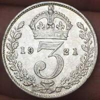 1921 Great Britain 3 Pence .50 SILVER GEROGE V ***XF/AU*** EXCELLENT COIN