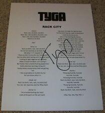 TYGA SIGNED AUTOGRAPH RACK CITY LYRIC LYRICS SHEET YOUNG CASH MONEY Y.M.C.M.B.