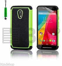 32nd Heavy Duty Dual Layer Shockproof Protective Case Cover for Motorola PHONES Moto E 2nd Gen (2015) Green