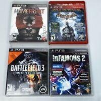 PS3 PlayStation 3 Game Lot Homefront Batman Arkham Asylum Infamous 2 Battlefield
