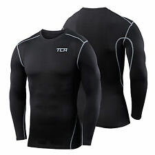 Men's and Boys' TCA Pro Performance Compression Body Armour Thermal Base Layer Long Sleeve Crew Neck Black Stealth L