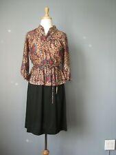 Vintage 1970s Black Floral Peplum Dress 2 piece look