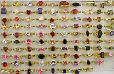 Wholesale Lots 40pcs Mixed Cubic Zirconia Rings Wedding Jewelry Gold P Ring