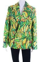FARM Rio Womens Green Banana Motif Linen Blazer Green Yellow Size XS