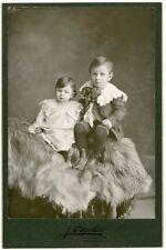 Cabinet Photo - 2 children on Long Hair Lap Robe, Red Oak Iowa - Circa 1900