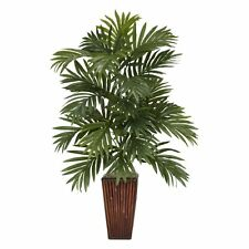 Areca Palm with Bamboo Vase Silk Plant, Green