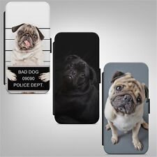 Cute Puppy Pug Dog WALLET FLIP PHONE CASE COVER for IPHONE SAMSUNG HUAWEI