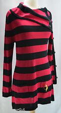 NWT BABY PHAT striped Authentic Original Knit Sexy Dress Split Cowl Mini LS SZ L